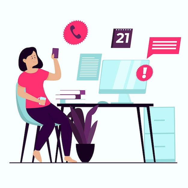 Procrastinating woman looking at her phone Free Vector