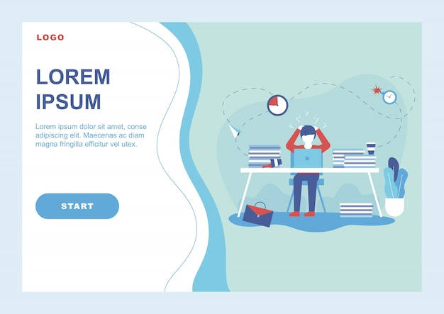 Procrastination banner with man lost his work time Premium Vector