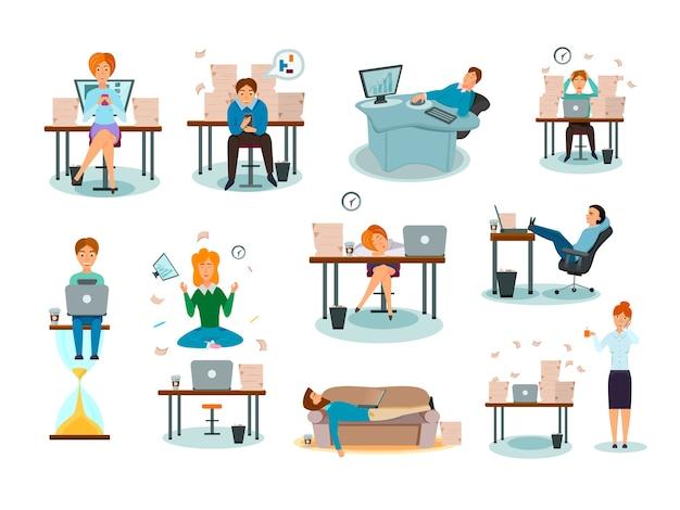 I personaggi di procrastinazione sopraffatti dal lavoro che ritarda le attività che dormono sul posto di lavoro hanno distratto la raccolta di icone del fumetto dei sintomi Vettore gratuito