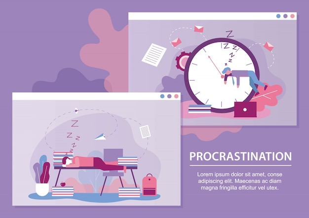 Procrastination metaphor text cartoon banner set Premium Vector