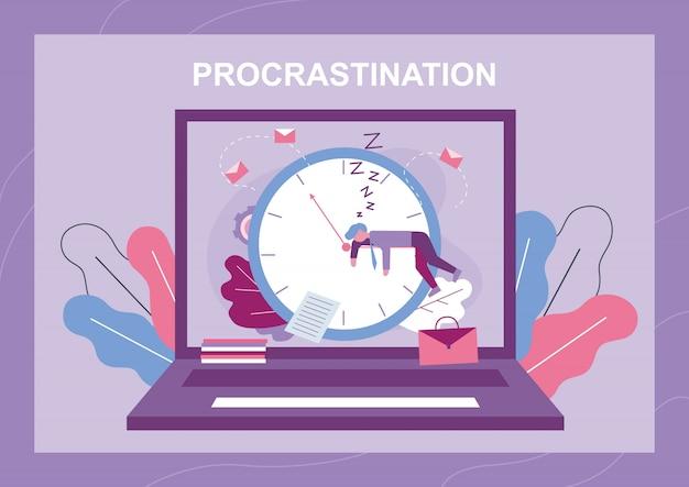 Procrastination and wast time metaphor banner Premium Vector