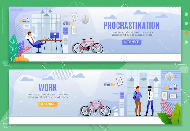 Procrastination and work metaphor flat banner set Premium Vector