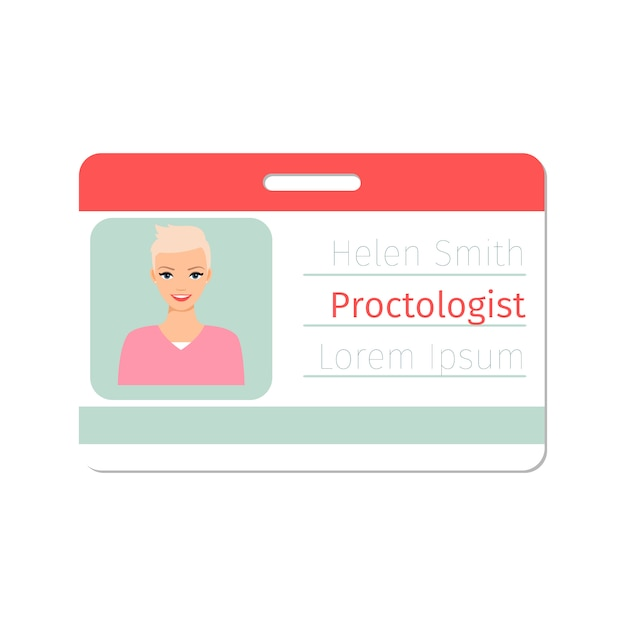 Proctologist medical specialist id card template Premium Vector