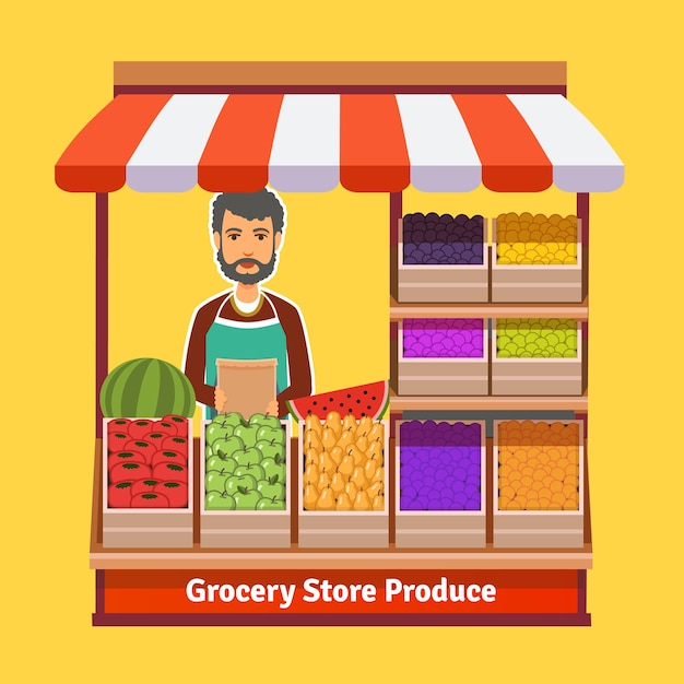Produce shop keeper. fruit and vegetables retail Free Vector