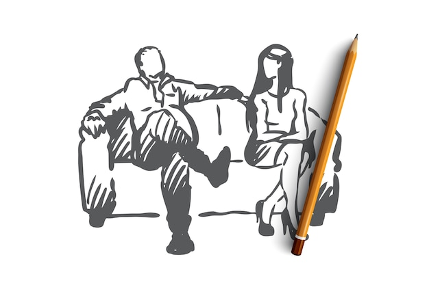 Producer, film, actress, sexual, harassment concept. hand drawn producer offer actress role in film but pretend on sex concept sketch. Premium Vector