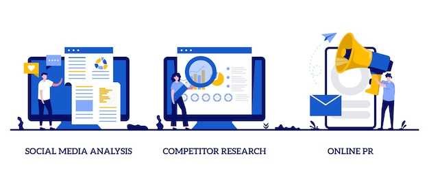 Product advertising strategy development abstract illustration set Premium Vector