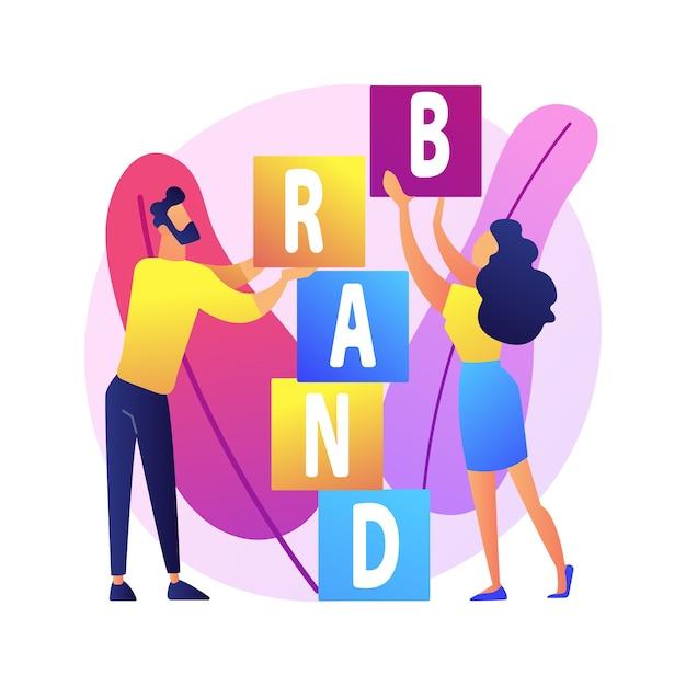 製品ブランドの構築。コーポレートアイデンティティのデザイン。スタジオデザイナーは、キャラクターのチームワーク、協力、コラボレーションをフラットにします。会社名。 無料ベクター