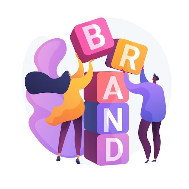 Costruzione del marchio del prodotto. progettazione dell'identità aziendale. studio designer personaggi piatti lavoro di squadra, cooperazione e collaborazione. nome della ditta. Vettore gratuito
