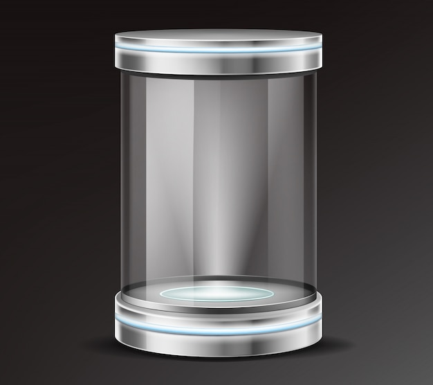 Product exhibit glass container realistic vector Free Vector