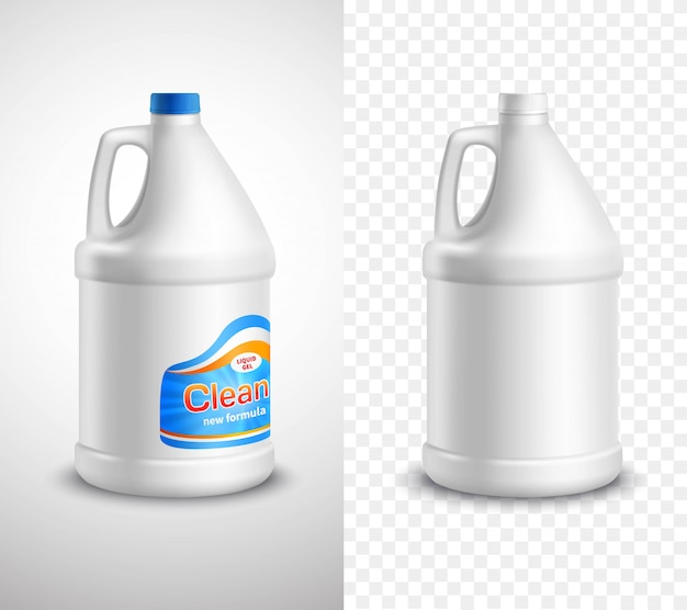 Product package banners with blank and labeled laundry detergent bottles Free Vector