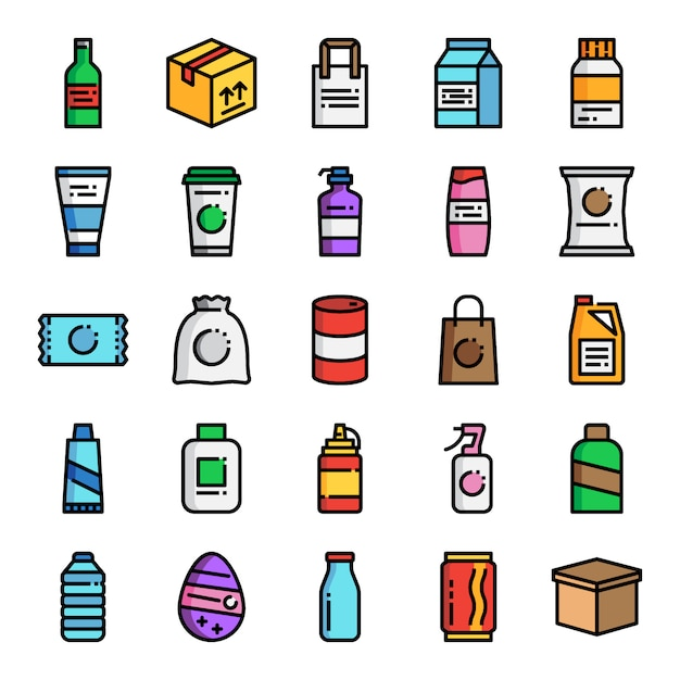 Product packaging pixel perfect color line icons Premium Vector