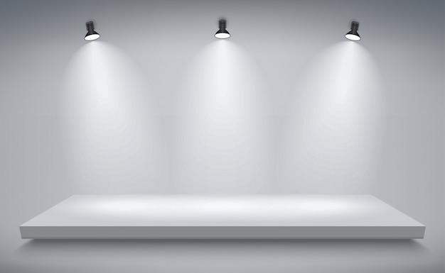 Product presentation podium, white stage, empty white pedestal Premium Vector