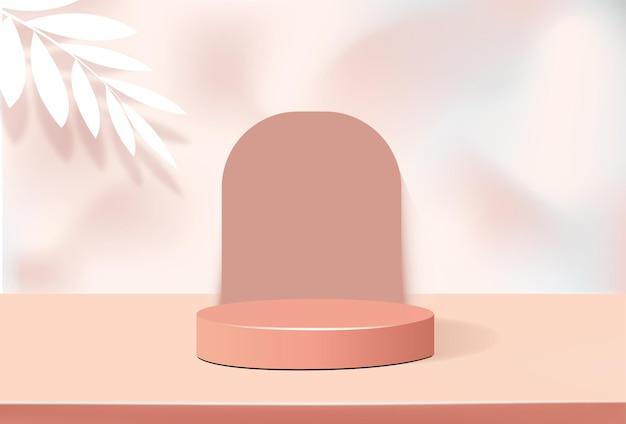 제품 프레젠테이션 스탠드, 미니멀 스타일의 파스텔 오렌지 연단의 기하학적 모양 프리미엄 벡터