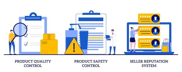 製品の品質と安全管理、小さな人々との売り手の評判システムの概念 Premiumベクター