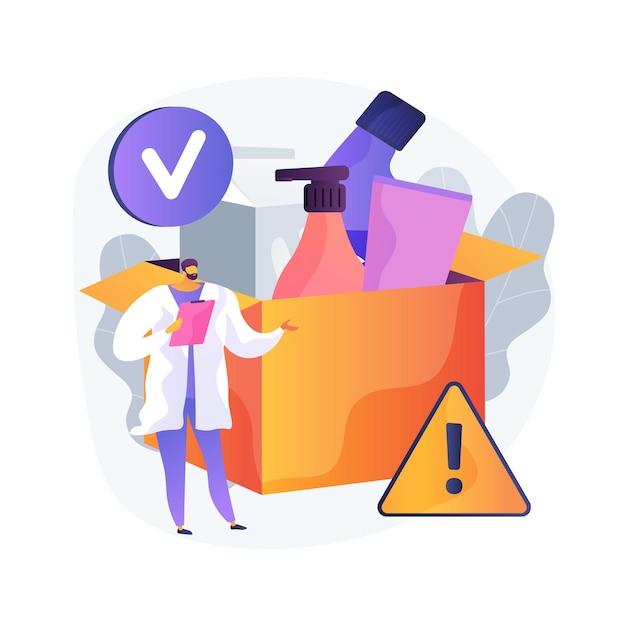 Иллюстрация абстрактной концепции управления безопасностью продукта. производственное оборудование, работа по тестированию и проверке продукции, знак защиты, информационная этикетка, лабораторная проверка Бесплатные векторы