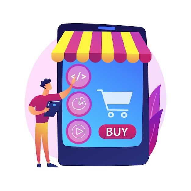 製品の選択、商品の選択、物をバスケットに入れます。オンラインスーパーマーケット、インターネットモール、商品カタログ。女性の購入者の漫画のキャラクター。 無料ベクター