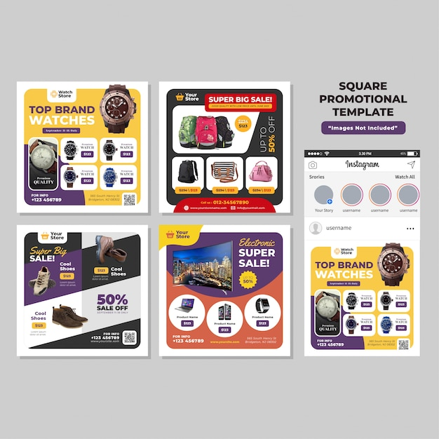 Product social media square promotional template Premium Vector