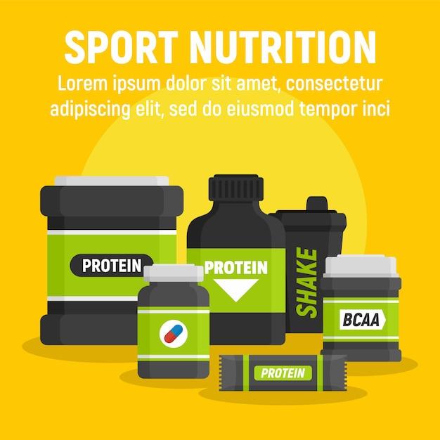 製品スポーツ栄養テンプレート、フラットスタイル Premiumベクター
