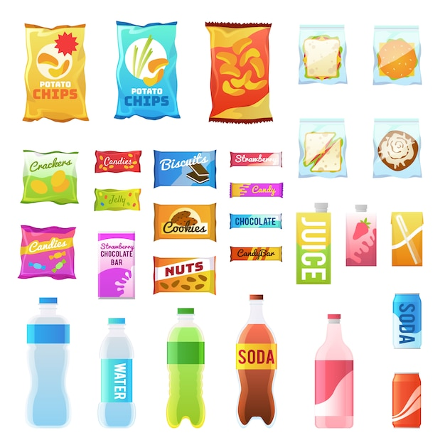 Product for vending. tasty snacks sandwich biscuit candy chocolate drinks juice beverages pack retail, set flat Premium Vector