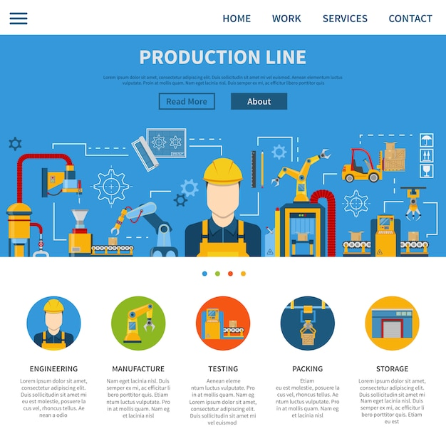 Production line page Free Vector