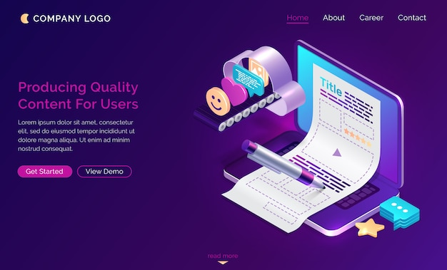 Production of quality content for users, isometric Free Vector
