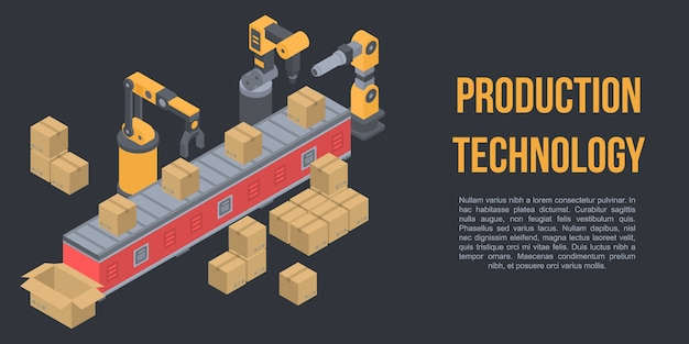 Production technology concept banner, isometric style Premium Vector