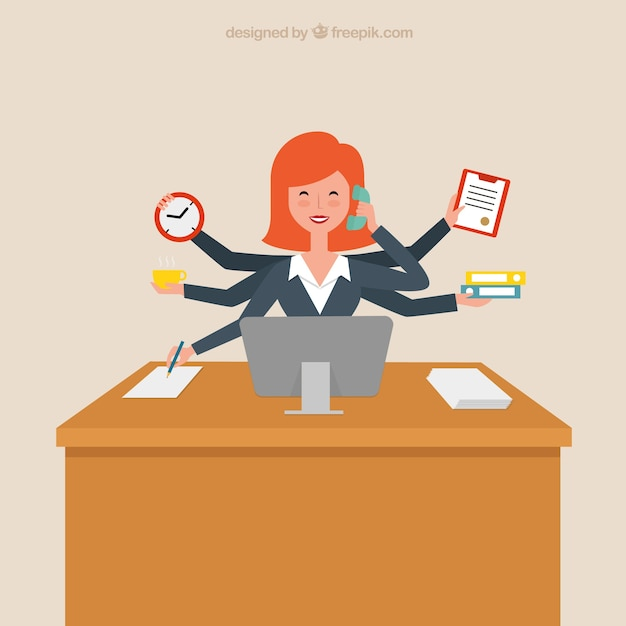 Productive businesswoman | Free Vector