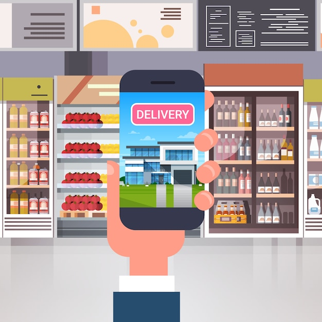Products delivery from retail store with hand using smart phone over supermarket interior grocery order shopping concept Premium Vector