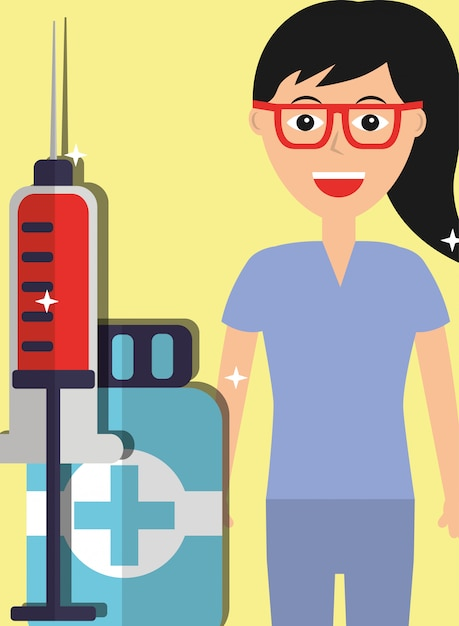 Profesional female doctor and syringe medicine bottle Premium Vector