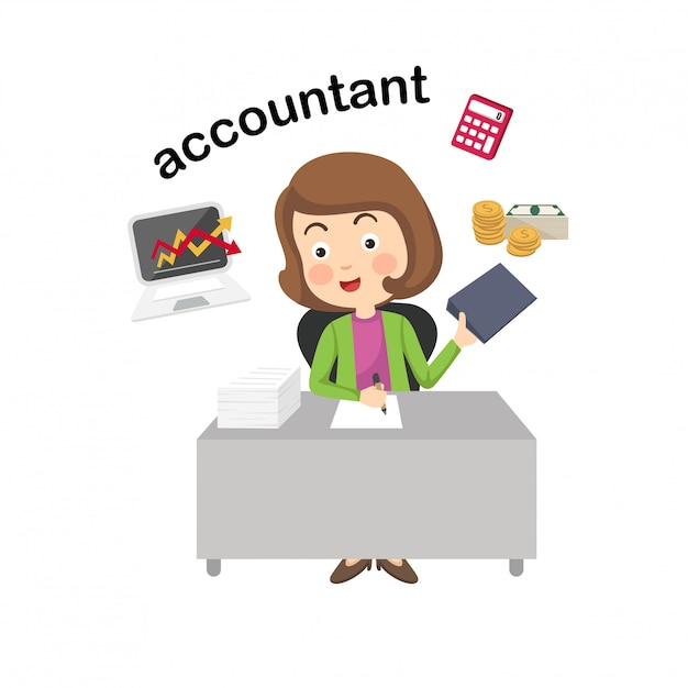 Profession accountant.vector illustration. Premium Vector