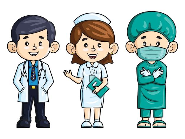 Профессия мультфильма. врач, медсестра и хирург Premium векторы