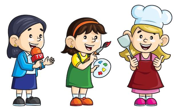 Профессия мультфильма. репортер, художник и повар. Premium векторы