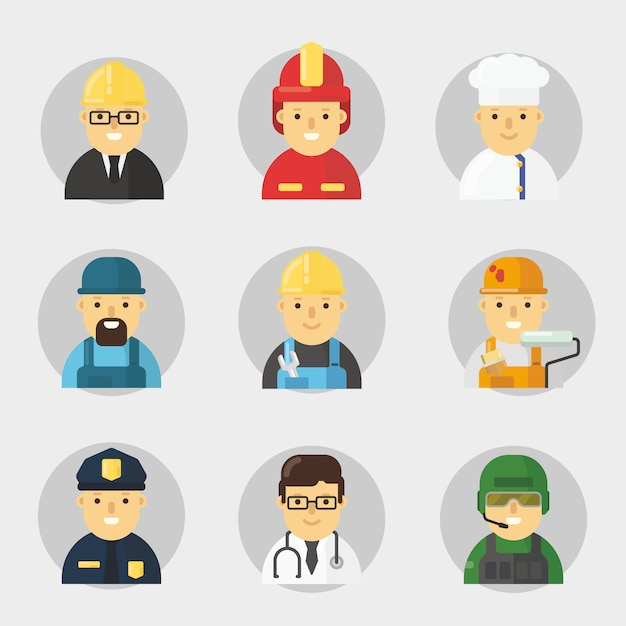 Profession character pack in flat design Premium Vector