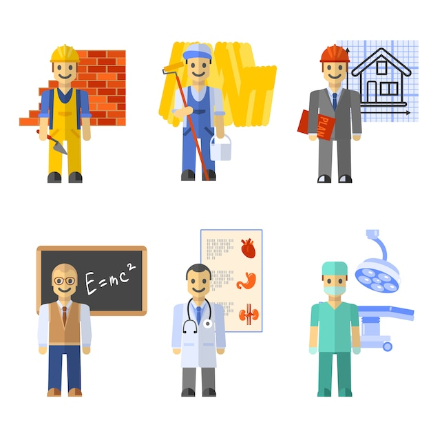 Profession characters set Free Vector