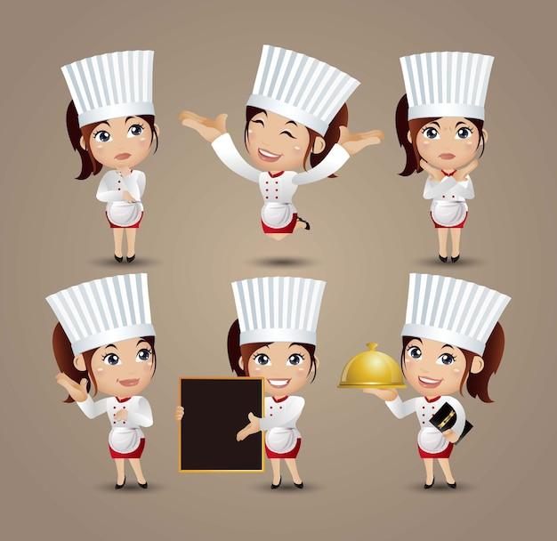 Профессия - повар в разных позах Premium векторы