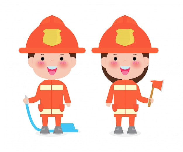 Profession firefighter with fire safety equipment  illustration isolated on white Premium Vector