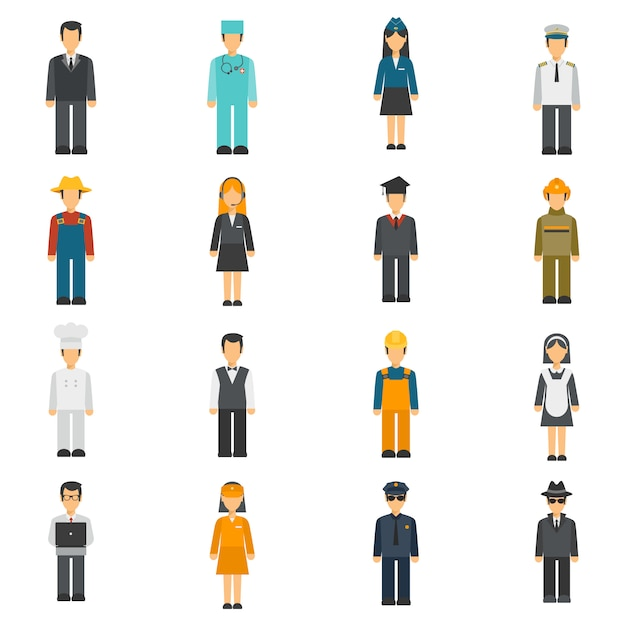 Profession flat avatars set Premium Vector