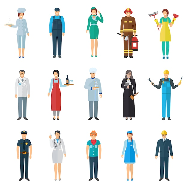 Profession and job avatar with standing people icons set Free Vector