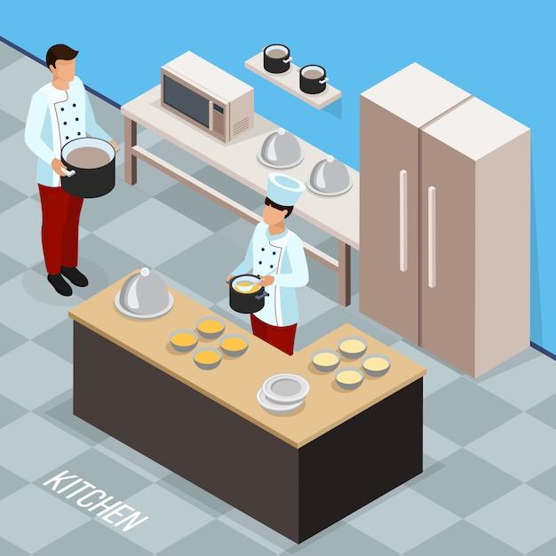 Профессия шеф-повара изометрической композиции с кулинарным персоналом во время приготовления еды на кухне Бесплатные векторы