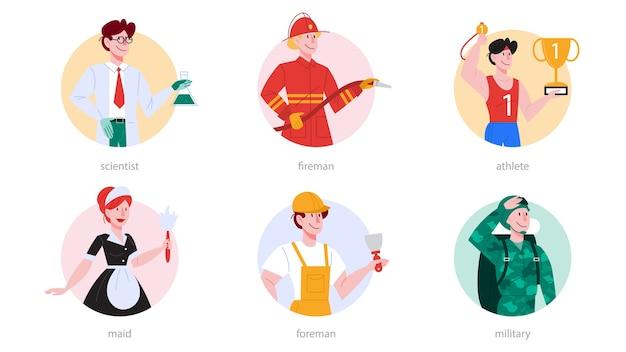 Набор профессий. коллекция профессии, мужчины и женщины в униформе. ученый, пожарный, спортсмен, горничная, прораб, солдат. Premium векторы