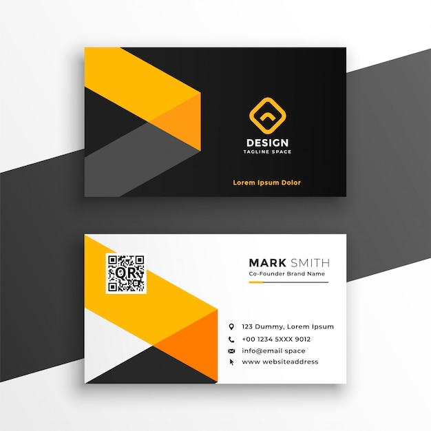 Professiona yellow business card modern template design Free Vector