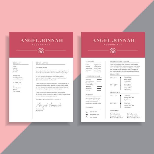 professional 2 page resume cv template design vector