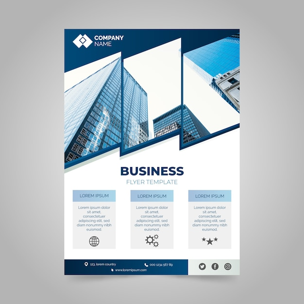 Professional annual business report with photo Free Vector