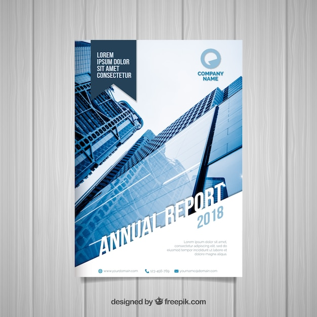 professional annual report cover with image vector free download