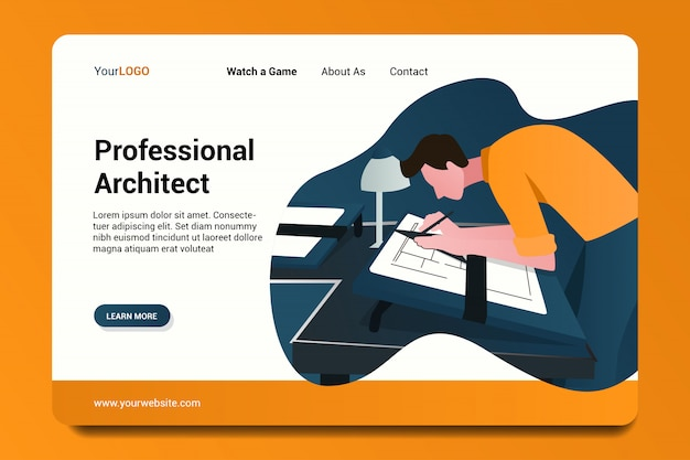 Professional architect landing page background. Premium Vector