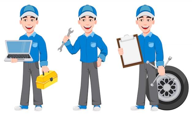 Professional auto mechanic in uniform Premium Vector