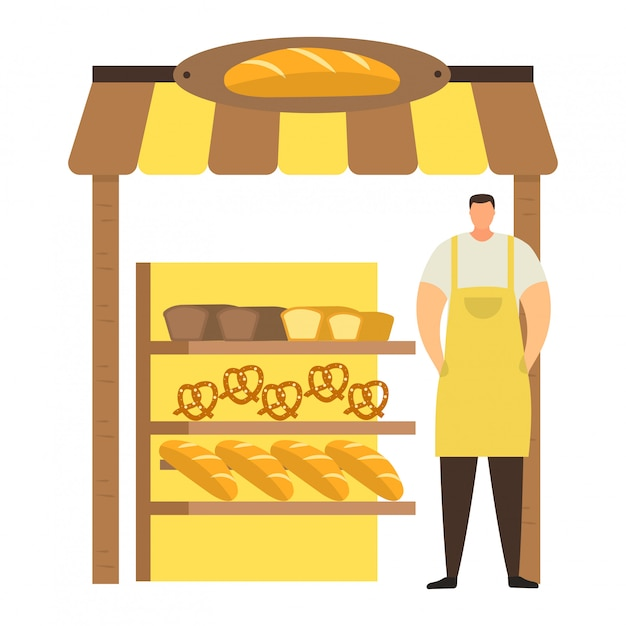 エプロンのプロのパン屋の男性キャラクターは、ベーカリー製品、都市のストリートストアのキオスク、貿易パン、ペストリーを白、イラストに販売します。 Premiumベクター
