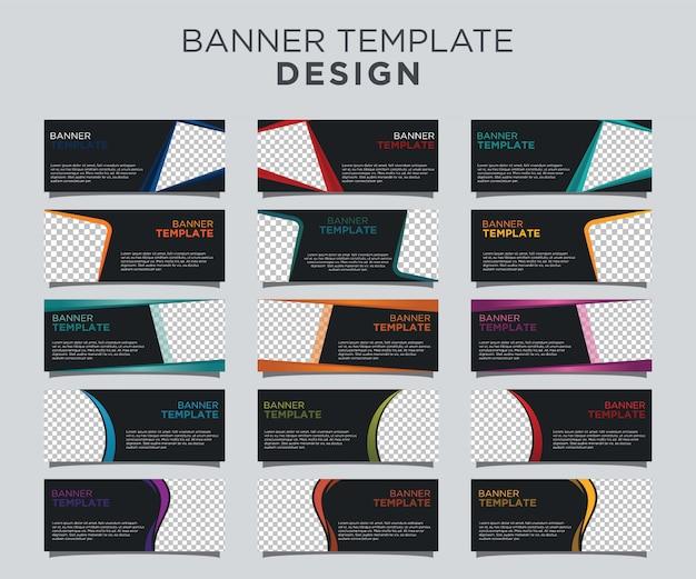 Professional banner template set dark background Premium Vector