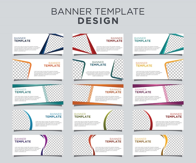 Professional banner template set white background Premium Vector