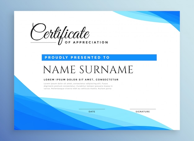 Professional blue business certificate Free Vector